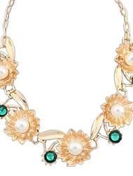 europeo preciosas flores de perlas collar de la declaración del babero de clúster de la mujer