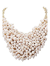 JANE STONE Women's Fashion White Pearls and Golden Statement Necklace
