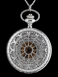 Vintage Large Circular Hollow Heart-Shaped Pattern Metal Clamshell Mechanical Pocket Watch Necklace Watch (1Pc) Cool Watch Unique Watch