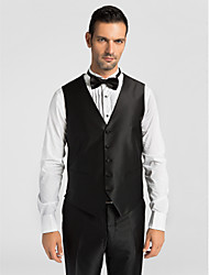Black Polyester Tailored Fit Vest