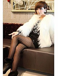 Women's Elegant Faux Fur Pure Color Long Sleeve Short Coat
