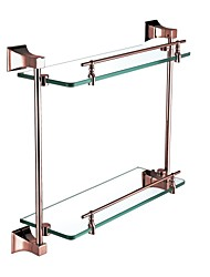 Contemporary Rose Gold Finish Glass Shelf With Rail