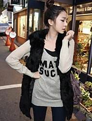 Women's Fashion Pure Color with Hooded Imitation Fur Warm Long Vest