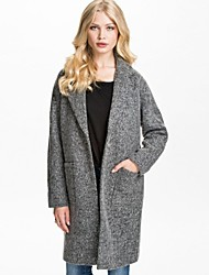 Women's Gray Coat , Casual/Work/Plus Sizes Long Sleeve Polyester