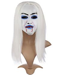 Halloween Masquerade cheveux blanc effrayant avec un masque de sang