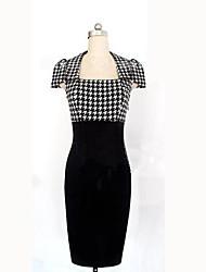 syj Quadrat Scheckdruck Reich, figurbetontes Kleid der Frauen