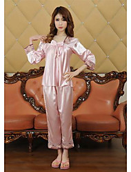 à manches longues de la mode et le sexe des femmes furuixiang® de soie imité pyjama en tissu fixées