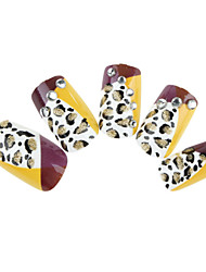 24PCS Fashion Yellow Leopard-Print Rhinestone Nail Art Tips With Nail Glue&Nail File