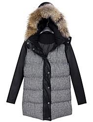 Women's Gray Coat , Casual/Plus Sizes Long Sleeve Cotton/Faux Fur