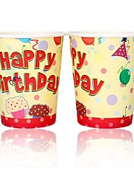 Coway 50PCS Yellow Themed BirthdayParty Disposable Paper Cup Cartoon Environmental Protection