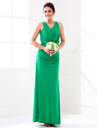Lanting Floor-length Jersey Bridesmaid Dress - Dark Green Plus Sizes / Petite Sheath/Column Cowl