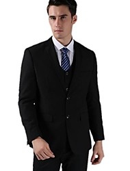 Men's Solid Casual / Formal Set,Cotton / Polyester / Organic Cotton Long Sleeve Black