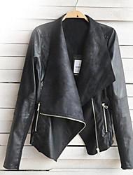 chaqueta de cuero sintético en forma corta con estilo de las mujeres