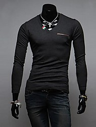 Men 's V led Color Placket  of Cultivate One's Morality Long Sleeve T-shirt