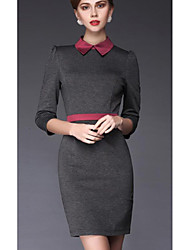 VICONE Women's Long Sleeve Contrast Color Ol Bodycon Slim Dresses