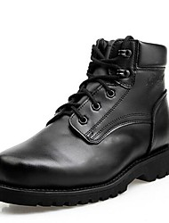 Men's Shoes Cap-toe Low Heel Leather Ankel Boots with Lace-Up
