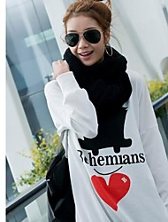 Women'sBigger Sizes Printed Letters Long Sleeve T-shirt