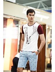 fenl Männer Rundhals Kurzarm Blumendruck-T-Shirt
