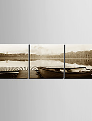 Stretched Canvas Art Landscape Lake Boat Set of 3