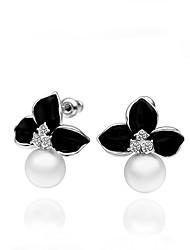 pendientes de la perla de la flor de las mujeres sophie