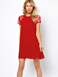 Blues Women's Lace Short Sleeve Splice Chiffon Dress