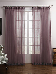 Modern Two Panels Floral  Botanical Purple Bedroom Polyester Sheer Curtains Shades