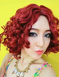 dama seductora rojo 28cm corto rizado fiesta de halloween peluca de las mujeres de pelo