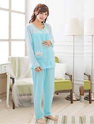 Maternity and Nursing Loose Cotton Pajamas Overalls for Pregnant Long Sleeve Knitted Nightgown Suit