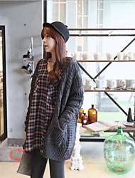 Мода материнства сократился чистый цвет вязание длинное пальто