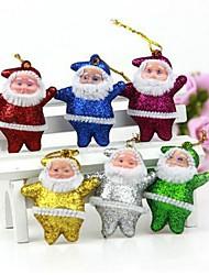 décorations de Noël suspendus ornements or le père noël (ensemble de 6)