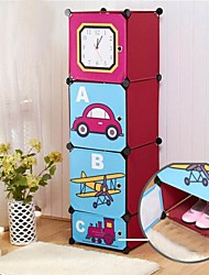 Multifunctional Children's Cartoon Clock Oxford Clothing Storage Cabinet