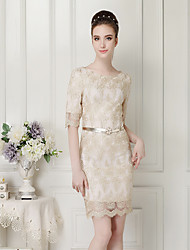 Women's Solid/Lace Gold Dress , Vintage/Bodycon/Casual Bateau ½ Length Sleeve Lace