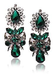 style européen vert foncé cristal boucle d'oreille de mode de luxe de jane filles de pierre