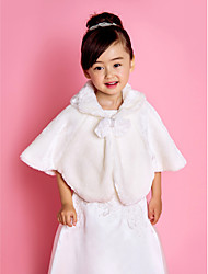 Kids' Wraps / Fur Wraps Capelets Sleeveless Faux Fur Ivory Wedding / Party/Evening / Casual Fold-over Collar Bow Lace-up Yes