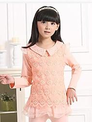 Girl's Fashion Sweet Lace Lapel Long Sleeve T Shirt