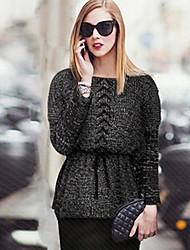 Women's Rope Waist Elastic Batwing Pullover Crochet Sweater