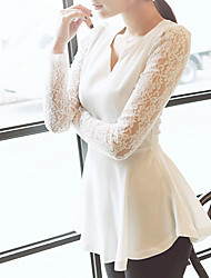 Women's V-Neck Tops & Blouses , Chiffon/Lace Sexy/Bodycon/Party Long Sleeve KaMan