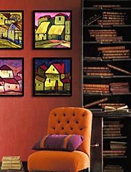 Rural Housing Framed Canvas Print Set of  4
