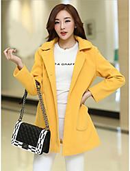 Lady 7 Women's Korean Style Lapel Neck Double Breast Bodycon Wool Coat
