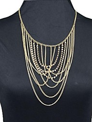 moda de diamante colares de liga borla cadeia de múltiplas camadas das mulheres