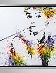 encadrée art de toile, la couleur éclabousse Audrey Hepburn avec cadre étiré