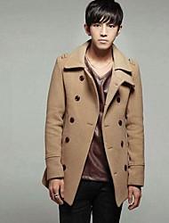Men's Long Sleeve Long Coat , Cashmere Pure