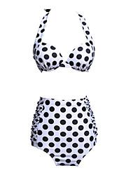 Foclassy™Women's White Polka Dott Vintage High Waist Bikini Set
