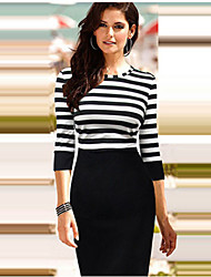 Wode Women's All Match Stripe Long Sleeve Bodycon Dress