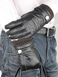 La alta calidad del otoño y el invierno de color puro de oveja caliente guantes de cuero de los hombres