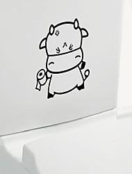 Cartoon Cattle Toilet Sticker