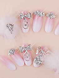 24+4PCS Villus Rhinestone Pink Bride Style Wedding Nail Art Tips With Free Gift