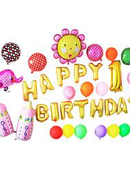 golden cartoon feliz aniversário cor de rosa mamadeira set alumínio membrana bebê chuveiro balão