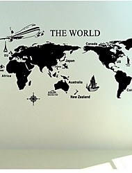 Wall Stickers Wall Decals, Large World Map PVC Wall Stickers