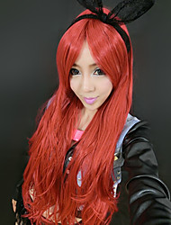 Elegant Goddess Christmas Red Long 55cm Women's Halloween Party Wig